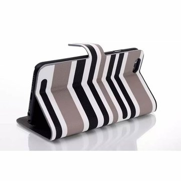 Modern Stripes Design PU Leather Wallet Stand Case Cover For iPhone 6
