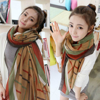 Women Autumn Winter Korean Style Stripe Voile Scarf