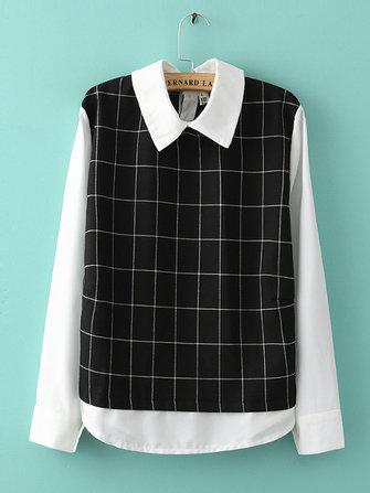 Women False Two Pieces Chiffon Shirt Back Buttons Plaid Blouse