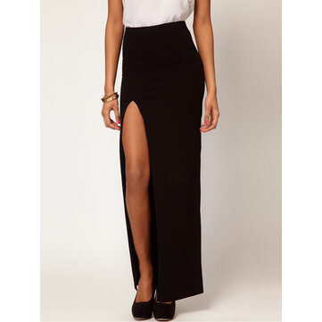 European Style Women Sexy Long Section Slim Side Slit Skirt Dress