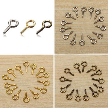 100pcs Mini Eye Pins Eyepins Hooks Eyelets Screw Threaded Peg 8x3.5mm