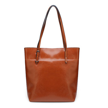 Women Big Tote Vintage Brown Oil Waxing Genuine Leather Handbags