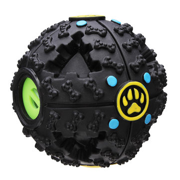 Fantastic Black Bone Pattern Pet Dog Feeding Ball Sound Toy