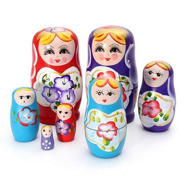 encantadora matryoshka anidación de 5 piezas de la muñeca de madera rusa