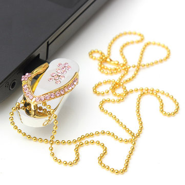 8GB Crystal Slippers USB 2.0 Flash Drive Smart Storage Necklace U Disk
