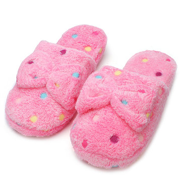 Dot Women Winter Bowknot Slipper Ladies Cotton Indoor Slippers