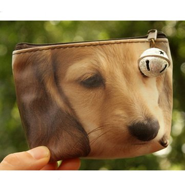 3D Dog Cat Face Printing Purse Zip Coin Wallet Women Clutch Bag