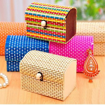 Mini Handmade Bamboo Wooden Jewelry Box Organizer Storage Case at