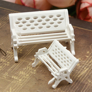 Mini Garden Ornament Miniature Park Seat Bench Craft Fairy Dollhouse