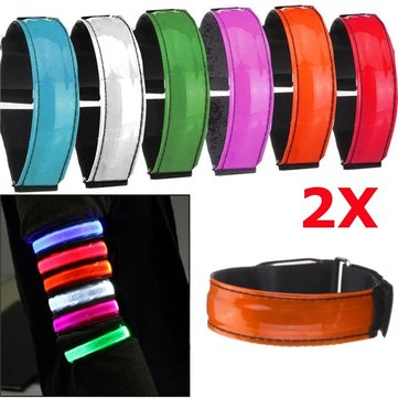 2pcs LED Reflective Arm Band Belt Strap Running Night Signal Safety Orange