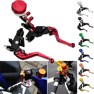 7/8 22mm Motorcycle Front Brake Clutch Master Levers Set Reservoir Cylinder Universal