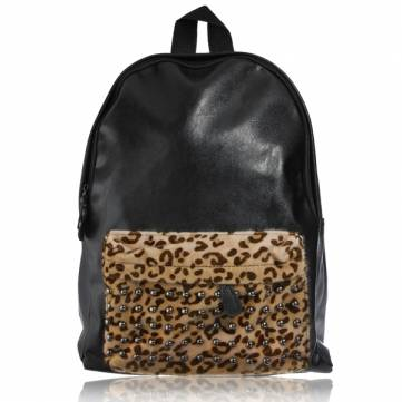 Women Retro Leopard Rivets Backpack Leather Shoulder Travle Bag