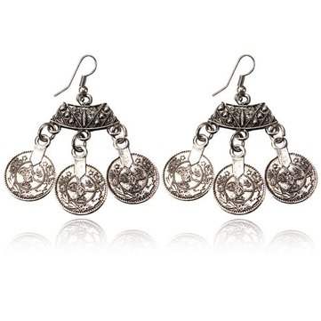 Vintage Tibetan Silver Round Coin Hook Drop Earrings For Women