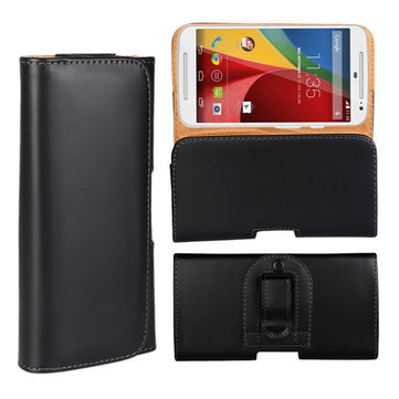 Waist Hanged Black Flip Open Left and Right Leather Case For MOTO G2