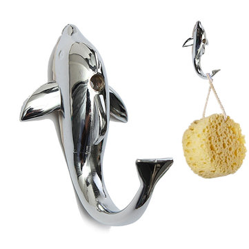 Silver Chrome Alloy Dolphin Hook Towel Hat Clothes Bathroom Hanger