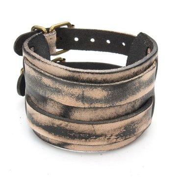 Punk Double Buckle Rectangle Wide Leather Bracelet Bangle Unisex