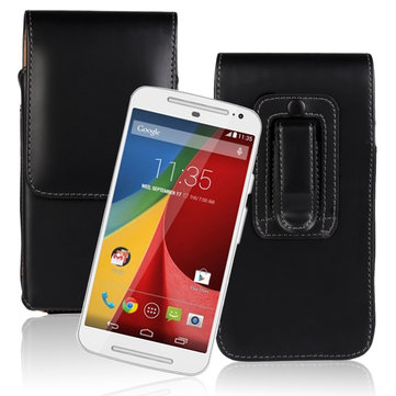 Waist Hanged Black Flip Open Up And Down Leather Case For MOTO G2