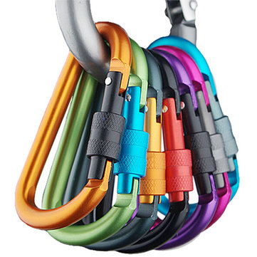 5PCS Safety Buckle Aluminum Carabiner Key Chain Quick Release Lock Multicolours For Camping Hiking