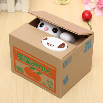 Lovely Creative Piggy Bank Kitty Cat Steal Money Coin Box