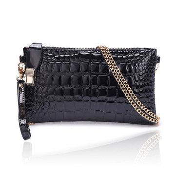 Женская сумочка клатч крокодил шаблон цепи плечо Диагональ сумки