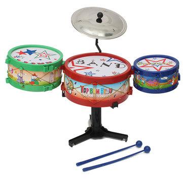 4pcs mini bambini drum kit insieme strumenti musicali giocattolo banda regali basso