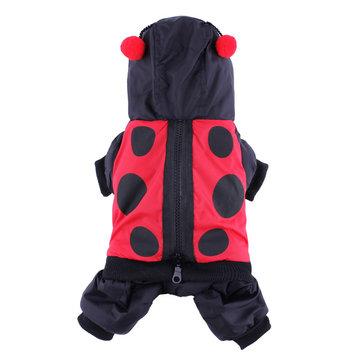 Ladybird Pattern Pet Windbreak Warm Coat Dog Jumpsuit Costume Winter