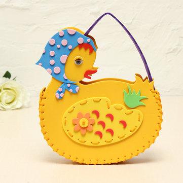 Bricolaje animales hechos a mano pato bolsas de coser bolsos eva