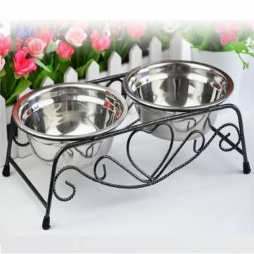 Double Stainless Steel Pet Cat Dog Puppy Water Food Feeder Dish Bowl
