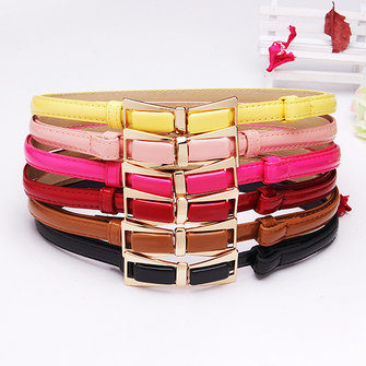 98CM Womens Belt Candy Color Patent Leather Bowknot Buckle Strip