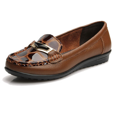 Ladies Leopard Genuine Leahter Flats Closed Round Toe Soft Loafers