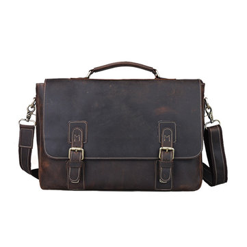 Retro Genuine Leather Cowhide Men's Shoulder Bag Messenger Laptop Bag
