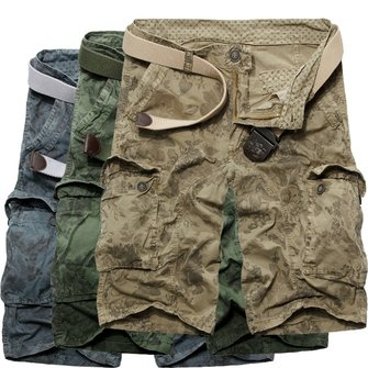 Mens Casual Loose Stripe Camo Cotton Multi Pockets Cargo ShorT-pants 116cfc9d88b