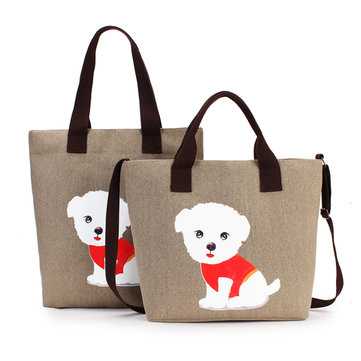 Women's Lovely Handbag Dog Pattern Shoulder Canvas Zipper Bags