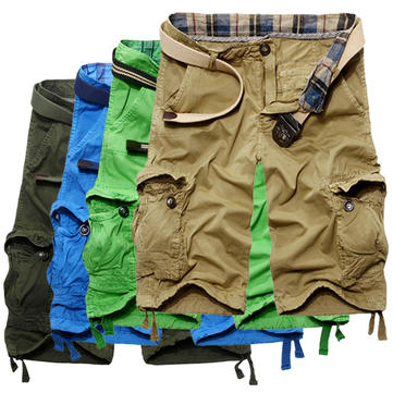 Mens Military Solid Multi Pockets Cotton Casual Cargo Shorts