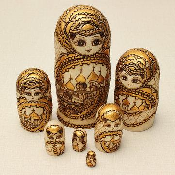 7pcs matryoshka muñecas rusas de la jerarquización de madera juguetes modelo regalo grabado