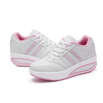 Women Casual Platform Sneakers Fitness Shape Ups Athletic Lace Up Shoes