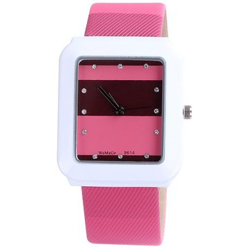 WOMAGE Women Crystal Stripe Rectangle Case PU Quartz Watch