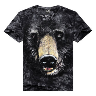 Summer Mens Casual 3D Black Bear Printing Tees Plus-Size Short Sleeve T-shirt
