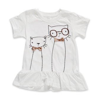 2015 New Little Maven Children Baby Girl White Cotton Short Sleeve T-shirt Flounced Top