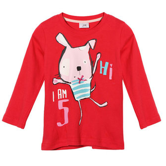 2015 New Little Maven Summer Baby Girl Children Rabbit Red Cotton Long Sleeve T-shirt