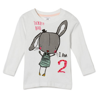 2015 New Little Maven Summer Baby Girl Children Rabbit White Cotton Long Sleeve T-shirt