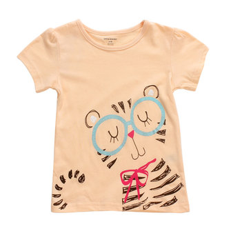 2015 New Little Maven Lovely Cat Baby Children Girl Cotton Short Sleeve T-shirt Top