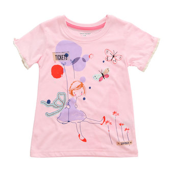 2015 New Little Maven Baby Girl Child Pink Cotton Short Sleeve Butterfly T-shirt Top Tee