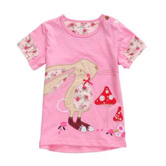 2015 New Little Maven Baby Girl Children Rabbit Rose Red Cotton Short Sleeve T-shirt Tee