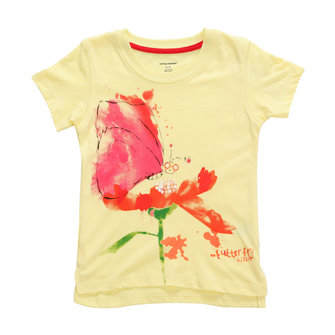 2015 New Little Maven Summer Baby Girl Children Flower Yellow Cotton Short Sleeve T-shirt