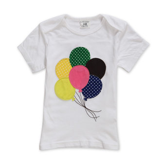 2015 New Little Maven Summer Baby Girl Children Balloon White Cotton Short Sleeve T-shirt