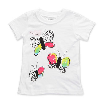 2015 New Little Maven Baby Girl Children Butterfly White Cotton Short Sleeve T-shirt