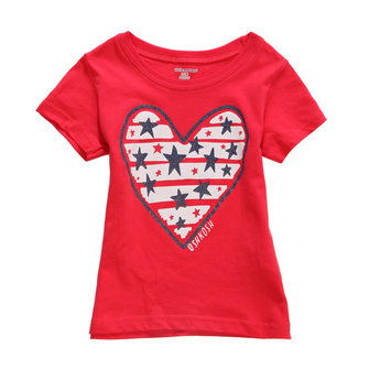 2015 New Little Maven Summer Baby Girl Children Heart Red Cotton Short Sleeve T-shirt