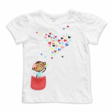 2015 New Little Maven Baby Girl Children Monkey Heart White Cotton Short Sleeve T-shirt