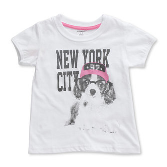2015 New Little Maven Baby Girl Children Glasses Dog White Cotton Short Sleeve T-shirt Top